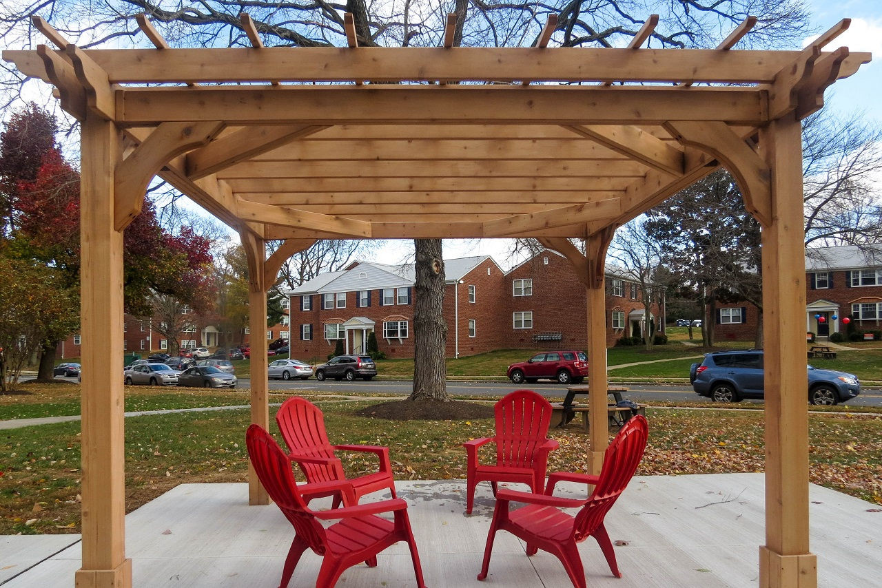 10x10 Classic Red Cedar Pergola / Swing Kit Upgrade includes additional blocking between beams for added strength and four sets of double corner braces for lateral stability / Baltimore, MD.