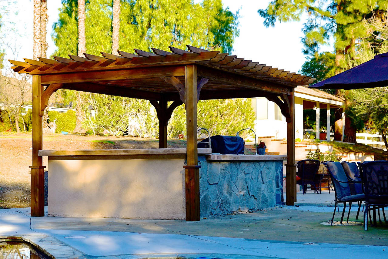"15' x 10' Serenity Cedar Pergola Kit / Western Red Cedar / 18"" overhang / Top runners spaced 12"" apart on center / Walnut Stain / Thousand Oaks, CA."
