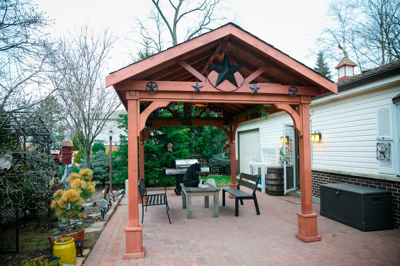 Open gable 10' side for a 14' x 10' Gabled Pavilion, Western Red Cedar.