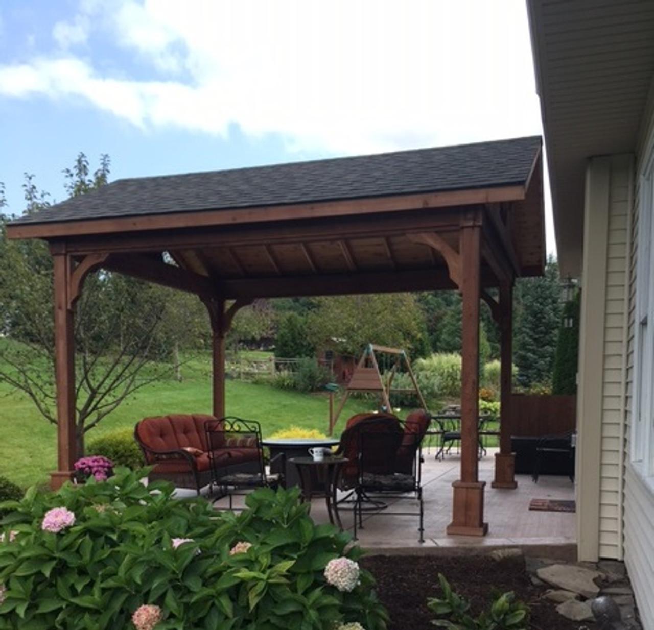 12x14 Cedar Pavilion / 9ft posts / Mahogany Stain / Western Red Cedar #1 Grade / Victor, NY