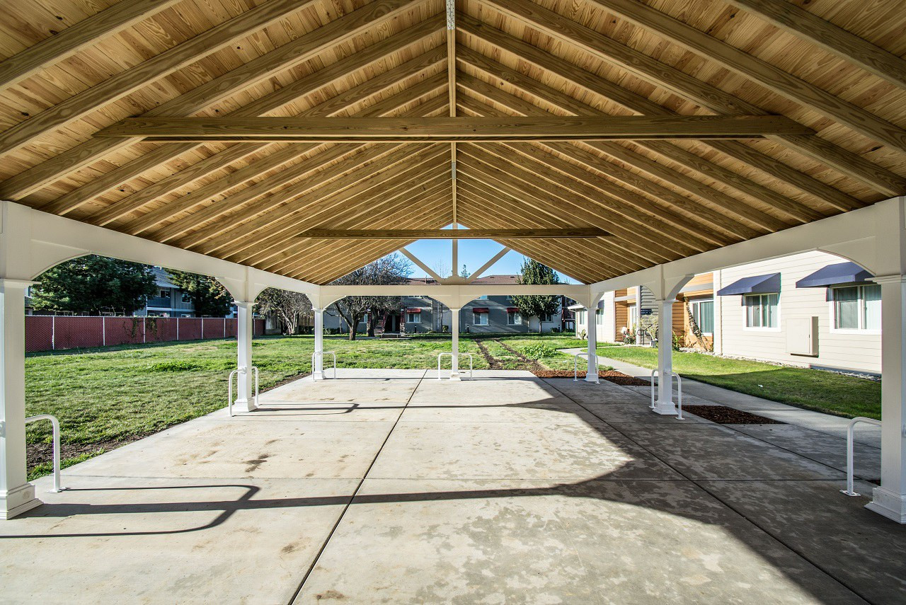 "Pressure treated 2"" x 6"" rafters, 1"" x 6"" tongue and groove roof panels, and collar braces / 36' x 24' Premium Vinyl Pavilion / Winters, CA"