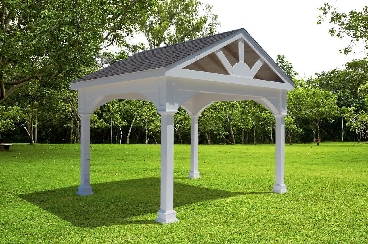 10' x 12' Premium Vinyl Pavilion - Gabled Roof