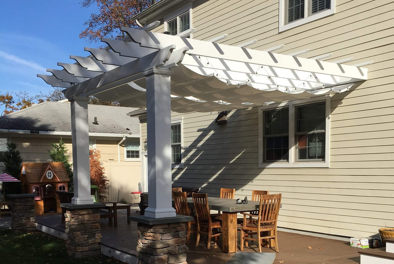 10x13 composite fiberglass pergola kit / Wall-mounted / Retractable fabric Infinity Canopy Pfifertex™ Stucco Color / Massapequa, NY.