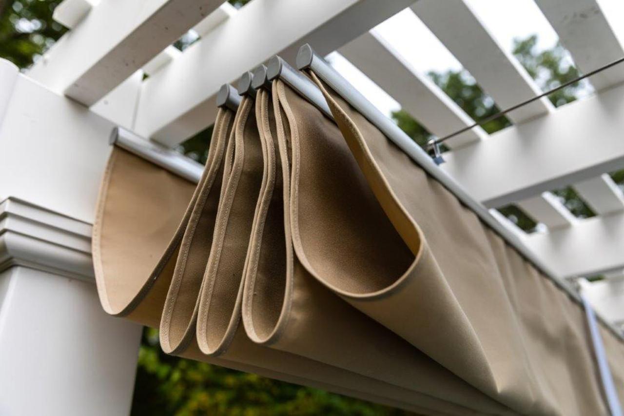 Vinyl Double Beam Pergola Kit + Retractable Sunbrella™ Canopy