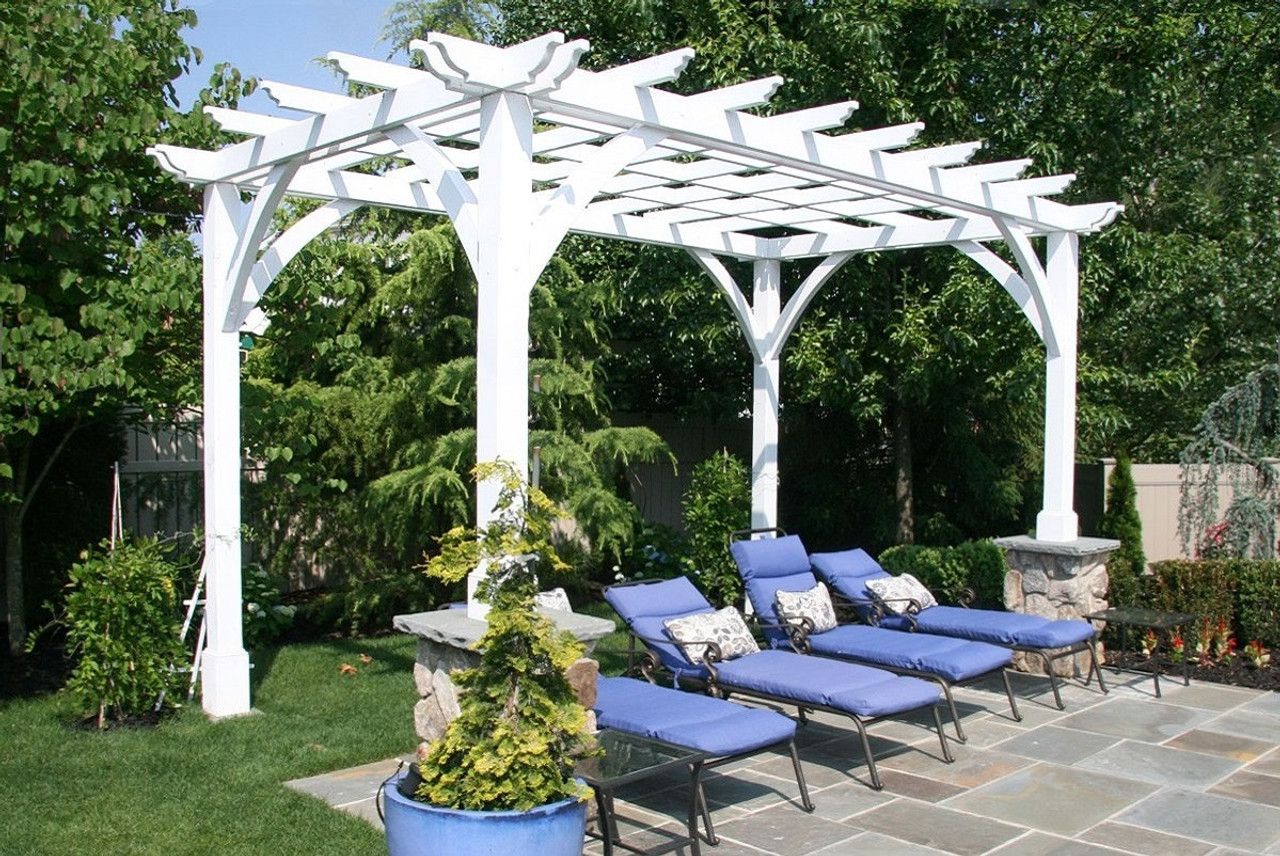 Brighton Hill - shown with white paint - Buy Pergola Kit In White Or Rustic Redwood