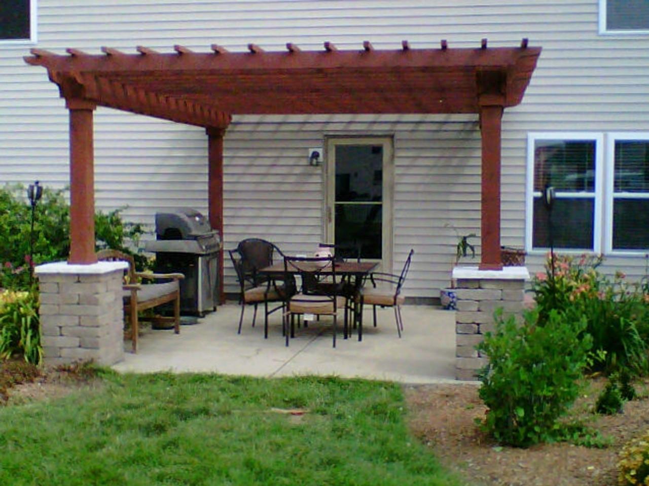 Eastern Pine pergola kit in backyard - 10 X 12 DIY Pergola Kit.