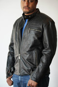 Men's Black Leather Riding Jacket - Large