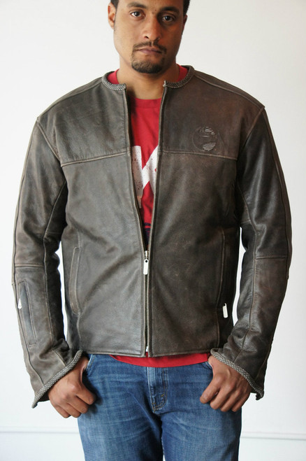 Men's Vintage Leather Riding Jacket - Medium
