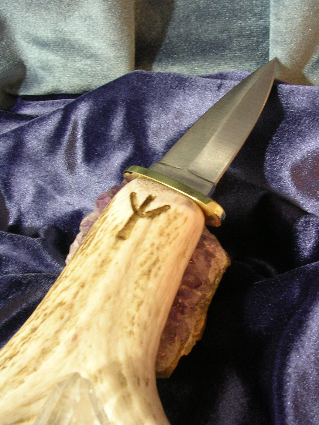 Athame of Forked Elk Horn, Brass & Steel Ancient Rune Magick Ritual Tool