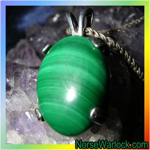 Magickal Malachite Pendant of Prosperity Brings Riches and Good Luck