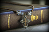 IN-627 Colorado Topaz Beaded Cross Necklace