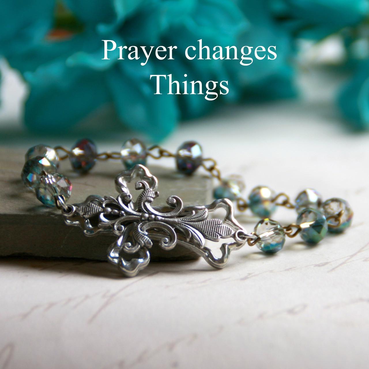 IN-181B  Stunning Cross Beautiful Beaded Bracelet One of My Favorites