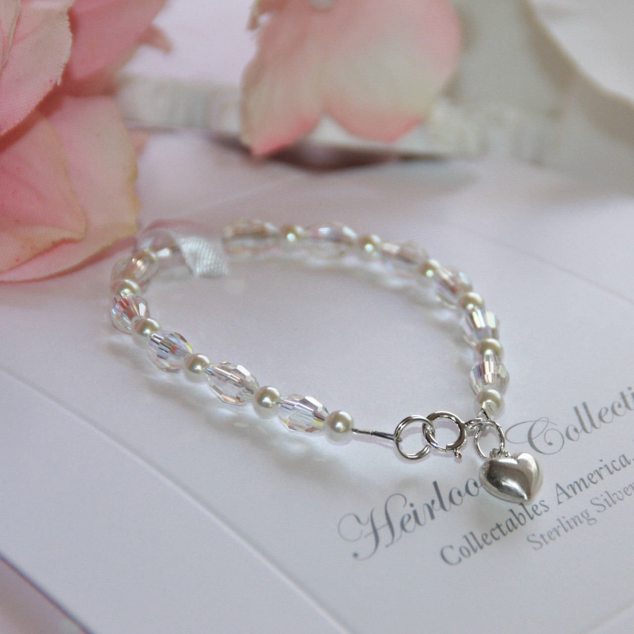"STG-146HT  Crystals and Pearls 5"" a Favorite Bracelet! Sterling Silver"