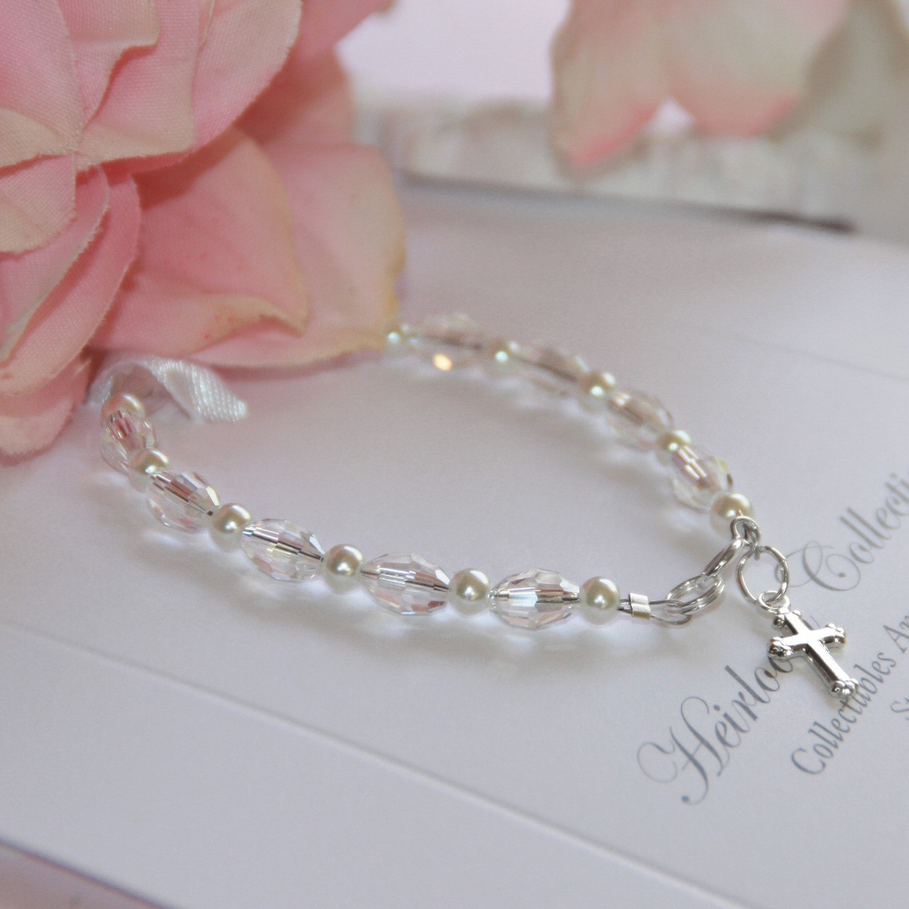 """STG-146CR Crystals and Pearls 5"""" a Favorite Bracelet! Sterling Silver"""