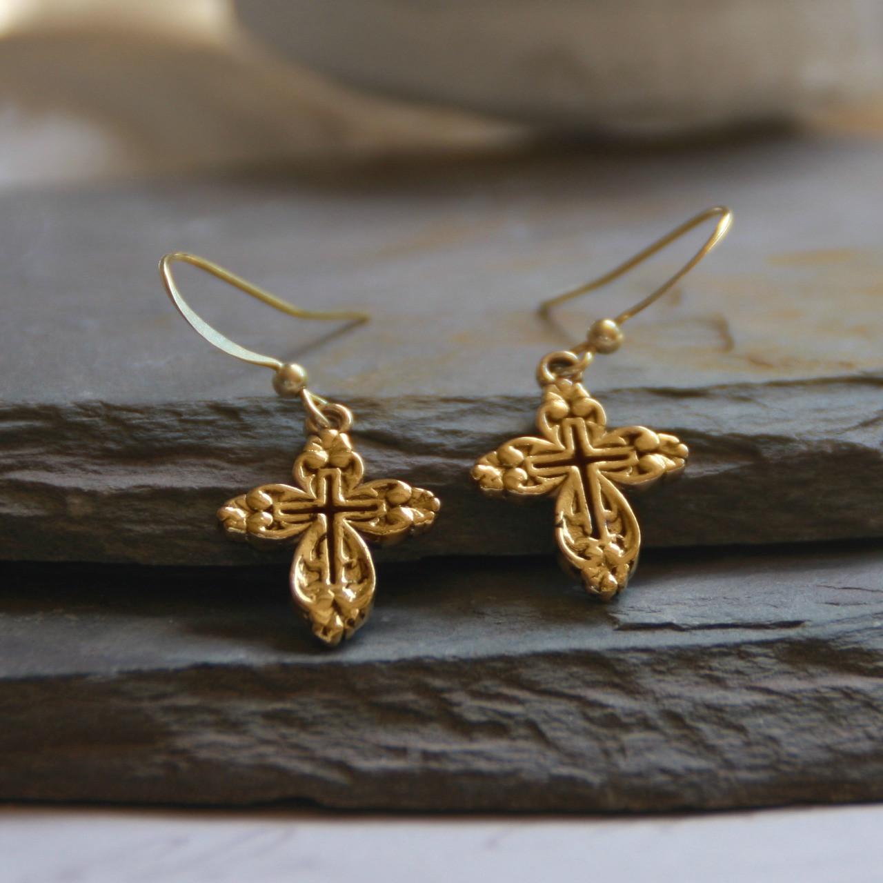 IN-1  Openwork Classic Cross Earrings Gold Finish