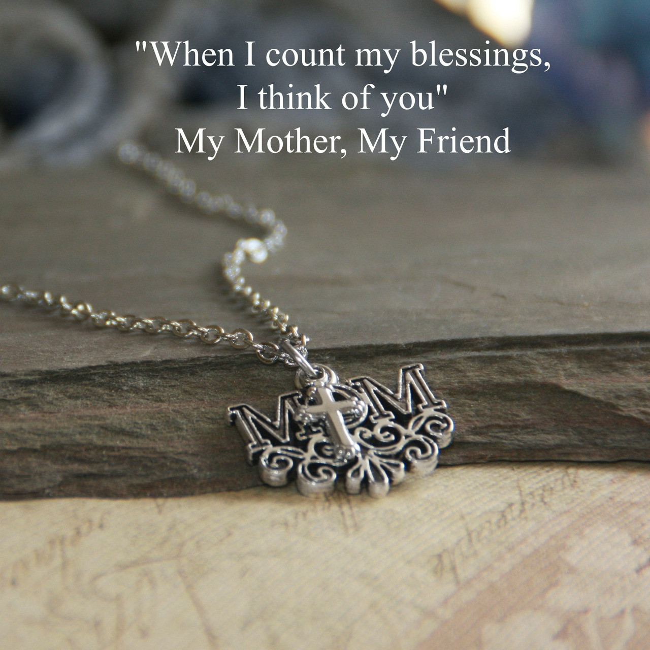 IN-559  Mom Cross Necklace