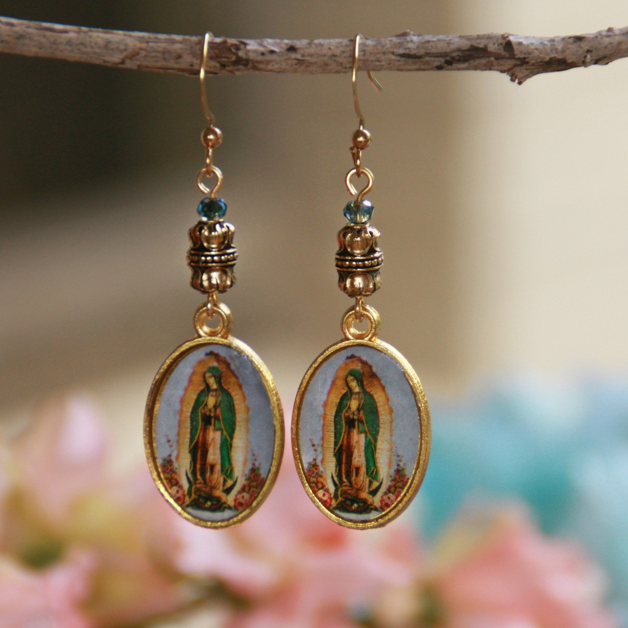 IN-99  Artwork Style Our Lady of Guadalupe Earrings