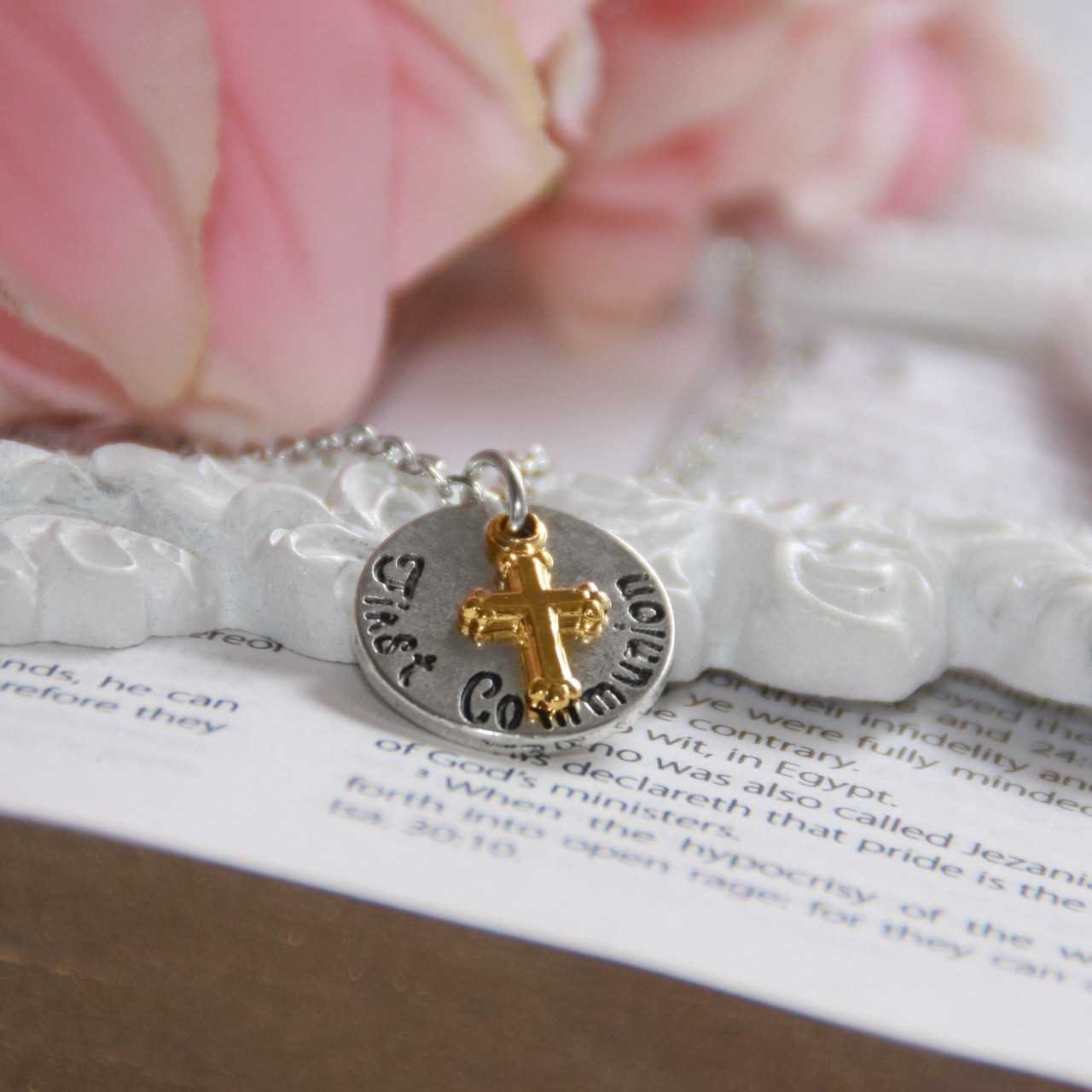 CJ-544  First Communion Cross and Disk Charm Necklace, top selling!