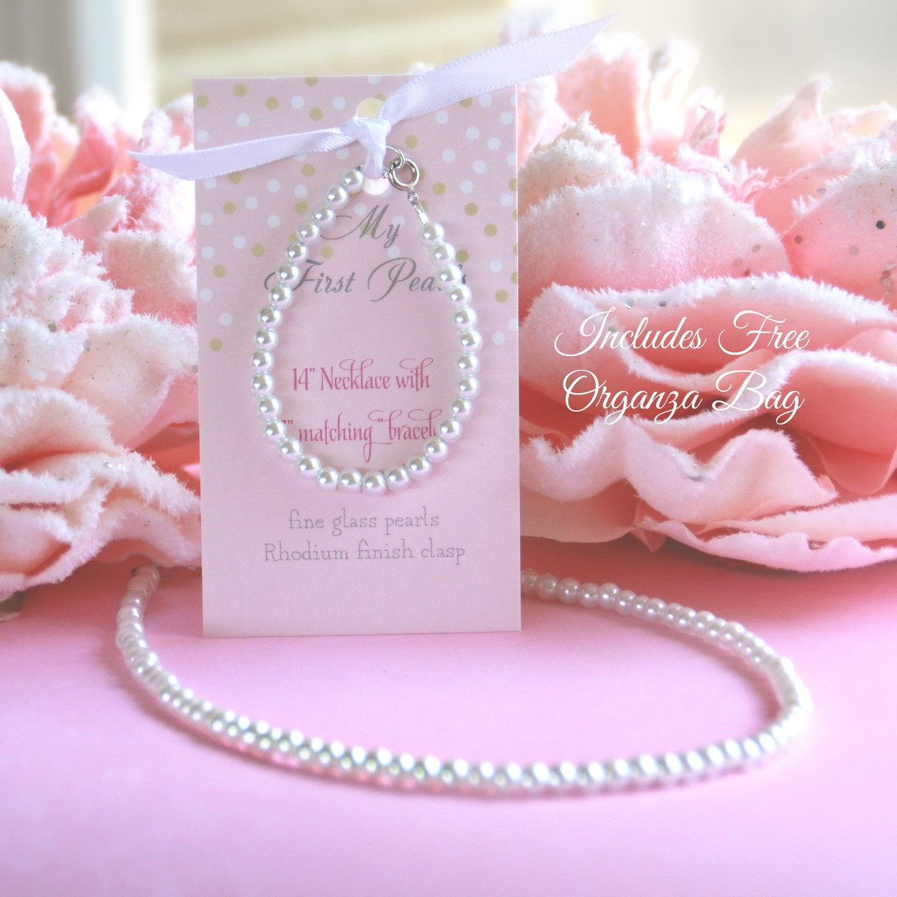 """CJ-378  My First Pearls Set with Organza Bag, Always a #1 Seller! 5"""" bracelett with 14"""" Necklace"""