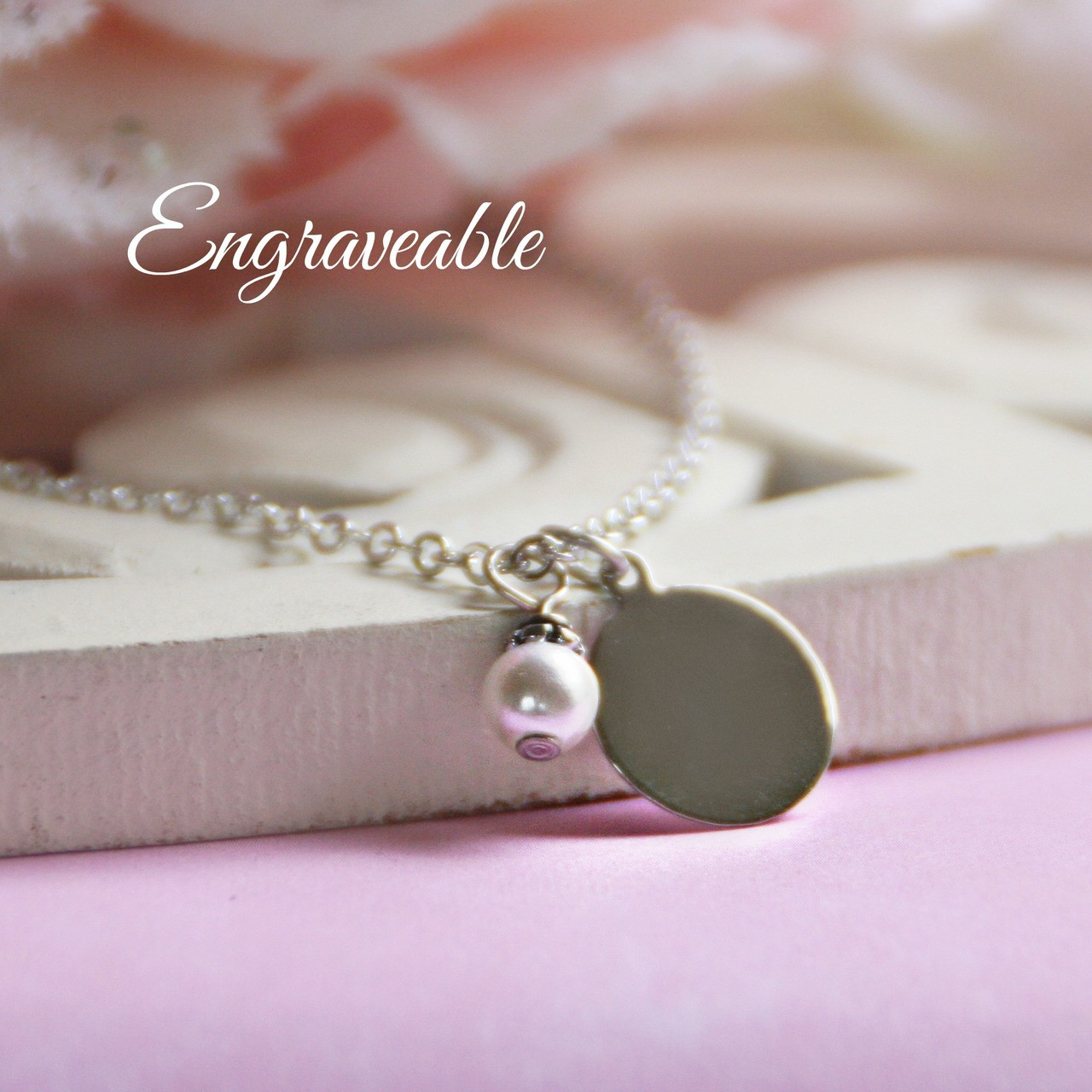 EG-1  Engraveable Stainless Disk with Pearl Necklace