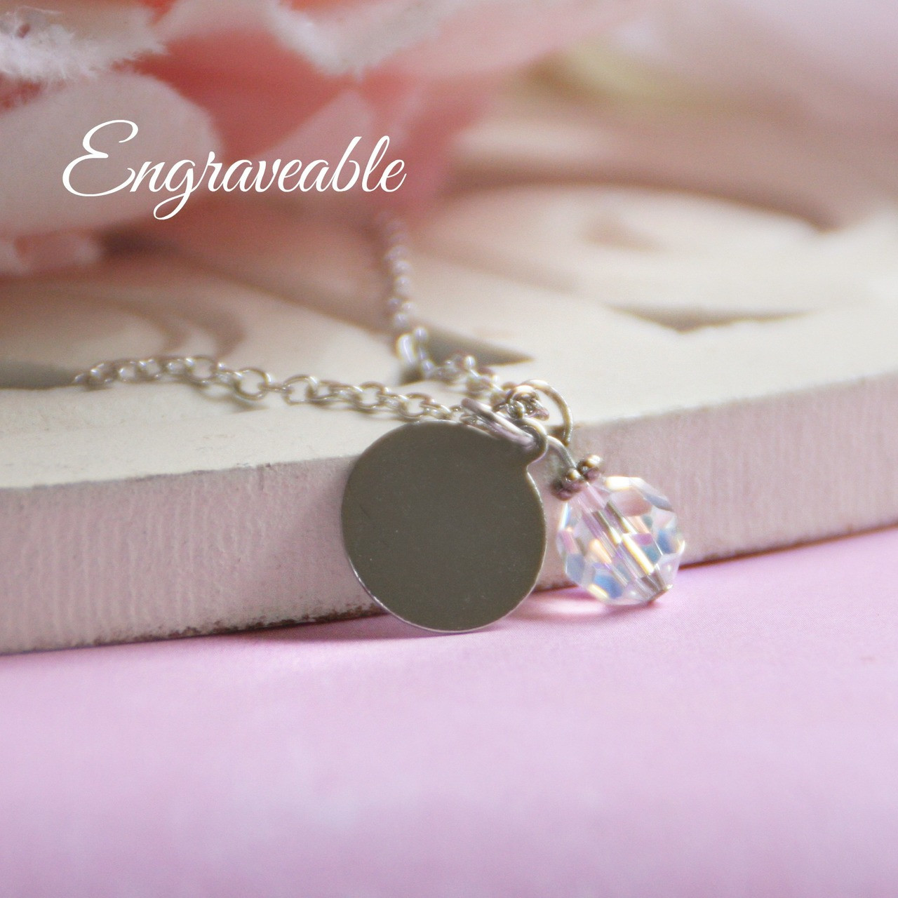 EG-2  Engraveable Stainless Disk with Crystal Drop Bead Necklace