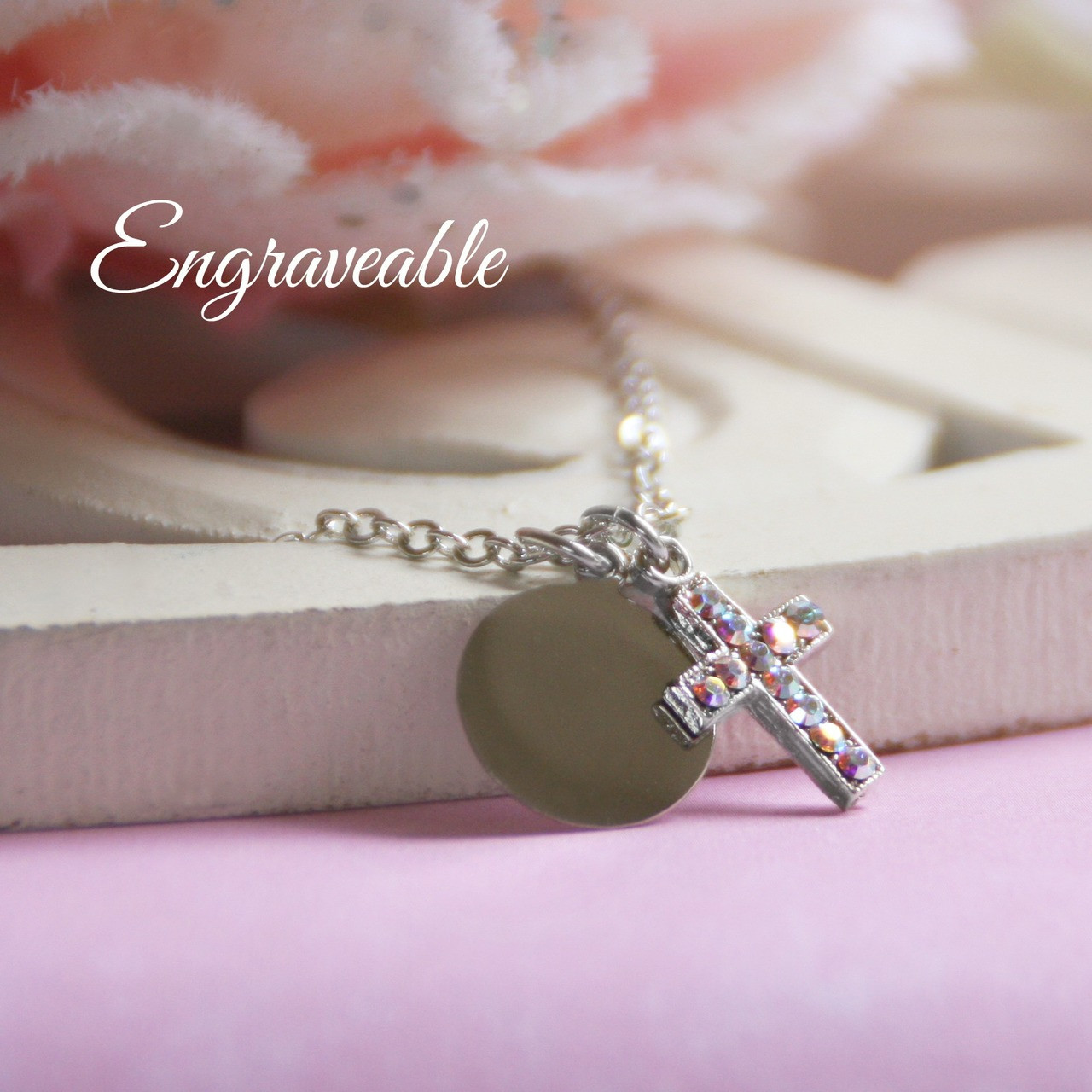 EG-5  Engraveable Stainless Disk and Crystal AB Cross Necklace