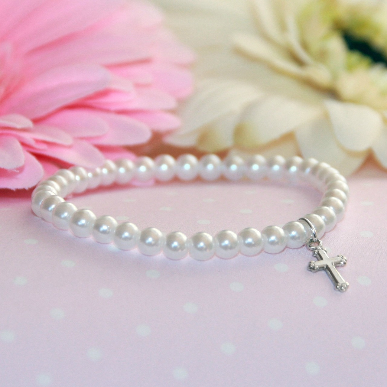 """CJ-5015  Stretchy 5"""" Top Selling Glass Pearl Bracelet with Sterling Silver Cross"""