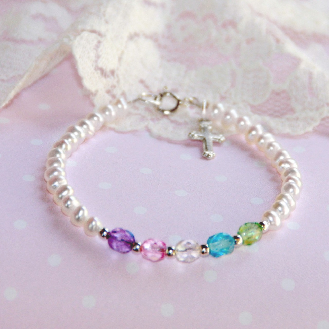 """STG-164  Freshwater Pearls Multi Crystal Top Selling 5"""" Bracelet with Sterling Silver Cross"""