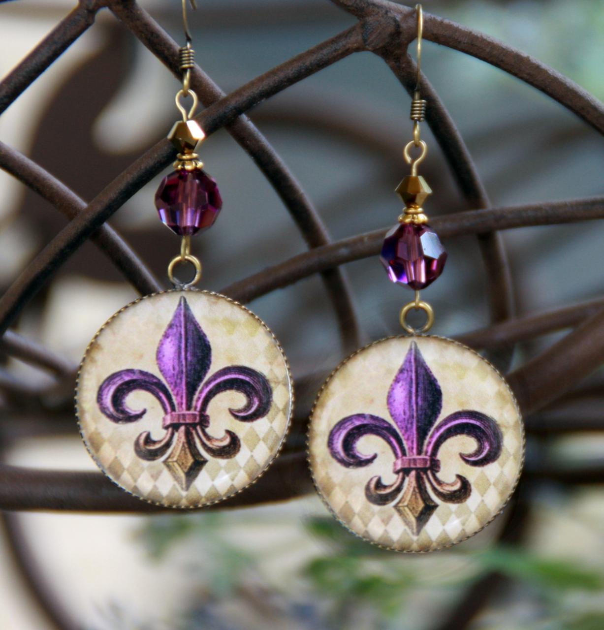 ART-224E Purple & Gold Fleur de Lis ART Earrings