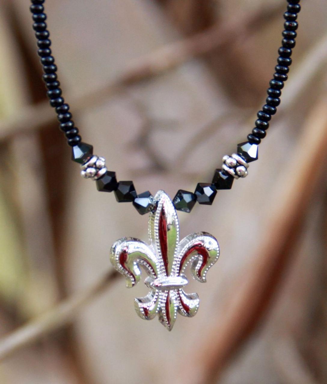 NCK-84 Fleur de Lis Black and Silver Beaded Necklace