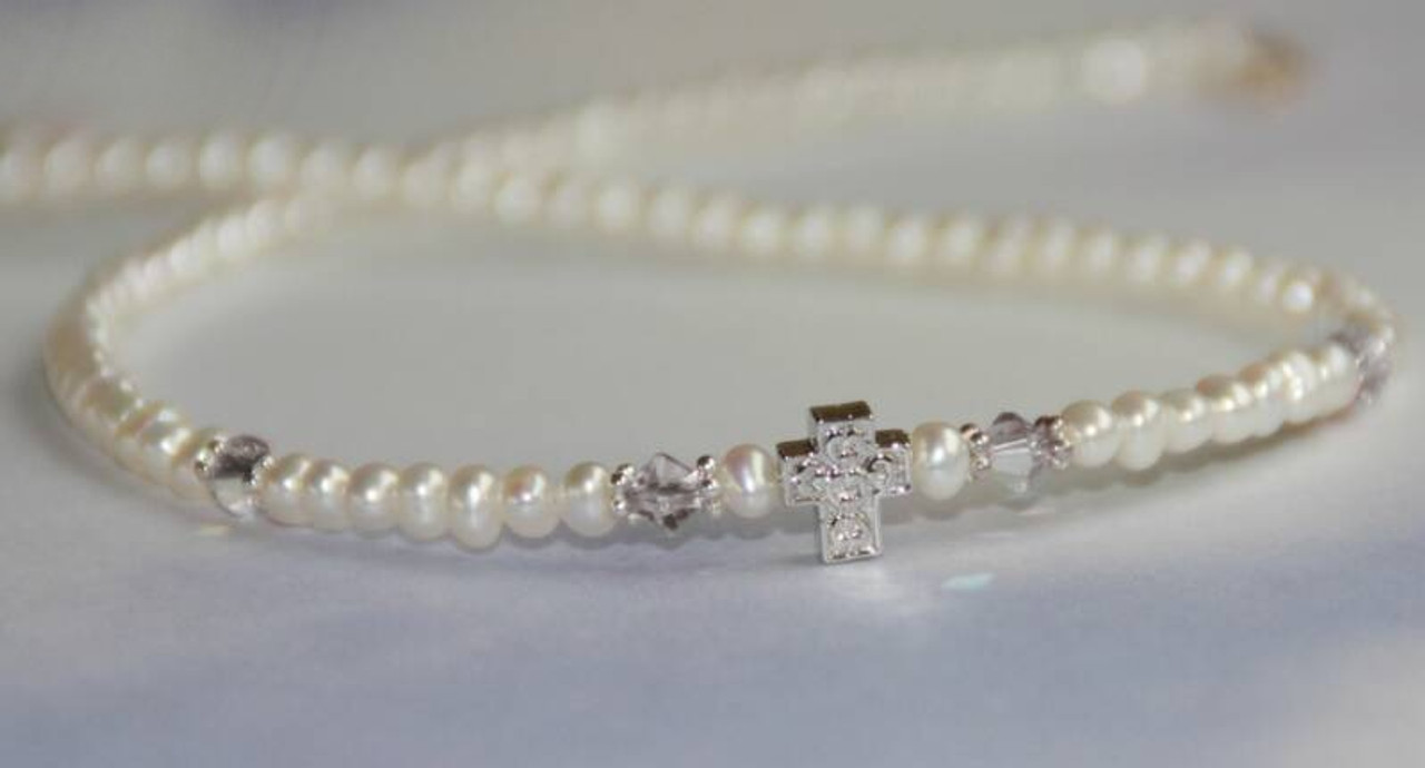 STG-151N Freshwater Pearls Crystal AB and Cross Necklace