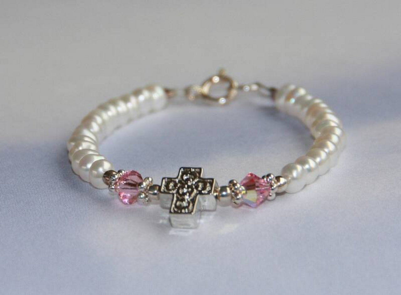 """STG-153-5 Baby Freshwater Pearls Crystals and Cross Bracelet 5"""""""