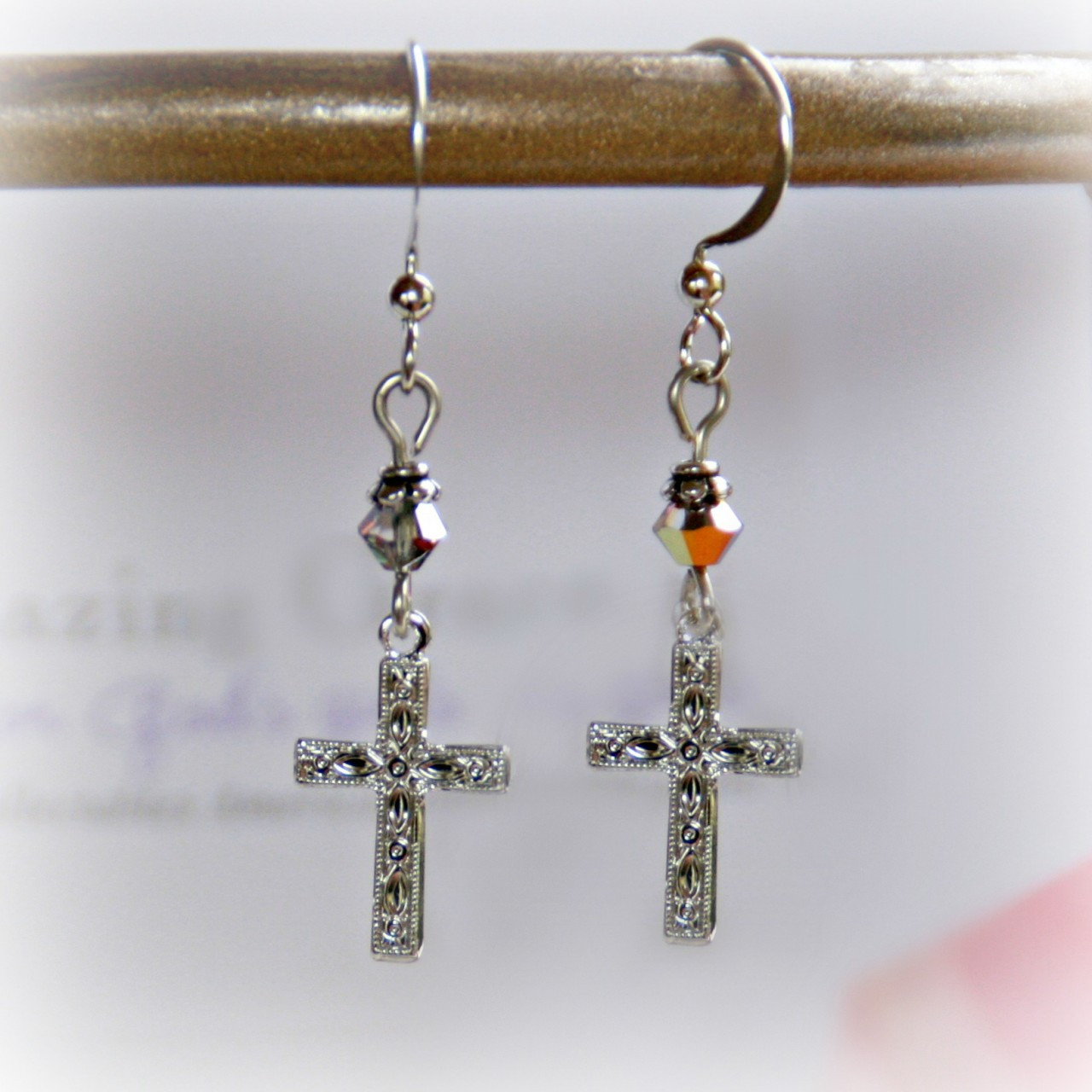 GG-18  Amazing Grace Engraved Cross Earrings