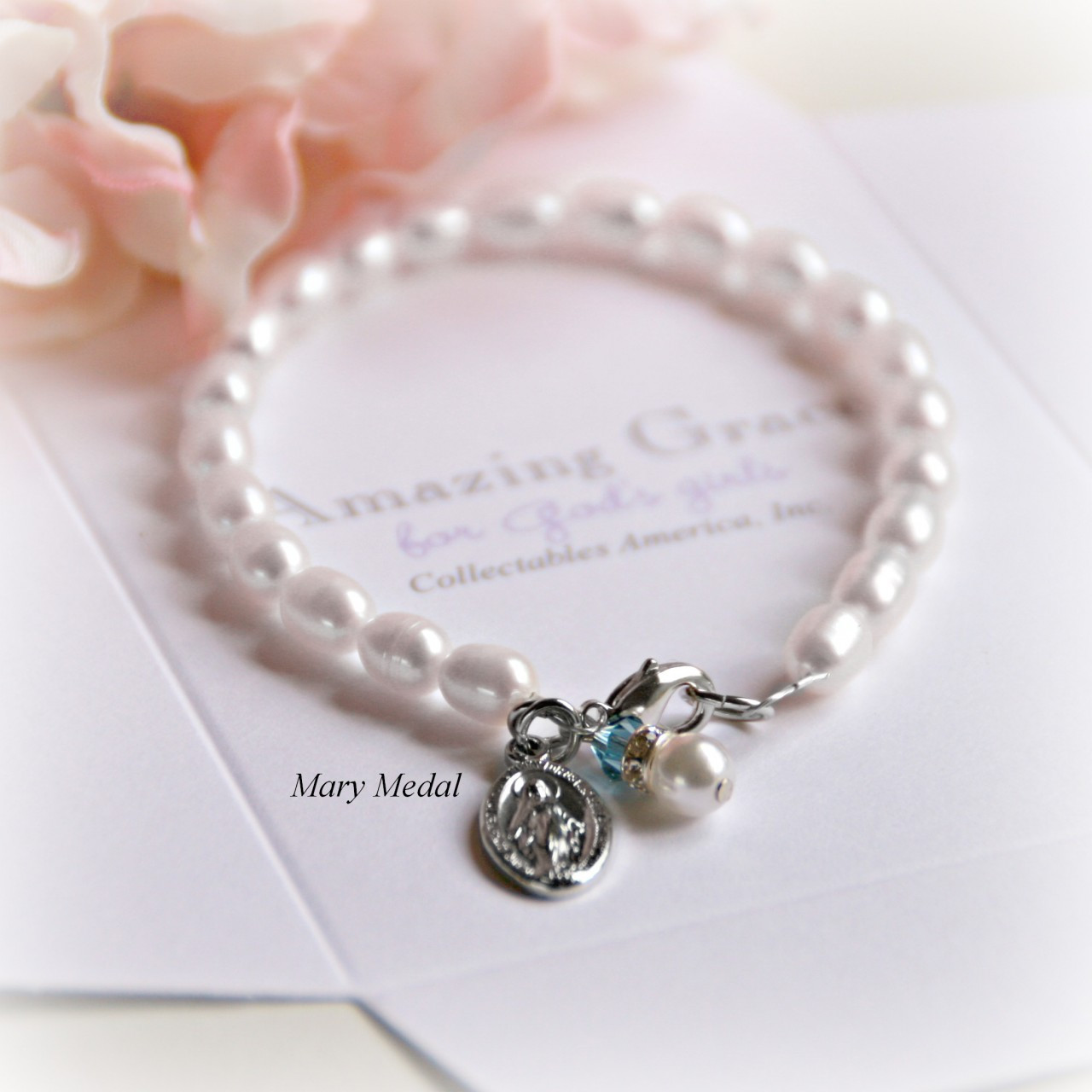 GG-30  Miraculous Medal with Freshwater Pearls Bracelet