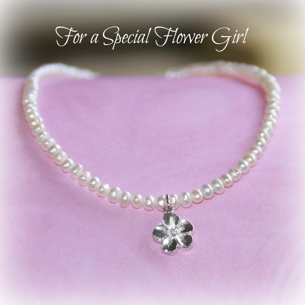 CJ-447  Flower Girl Freshwater Pearl Necklace