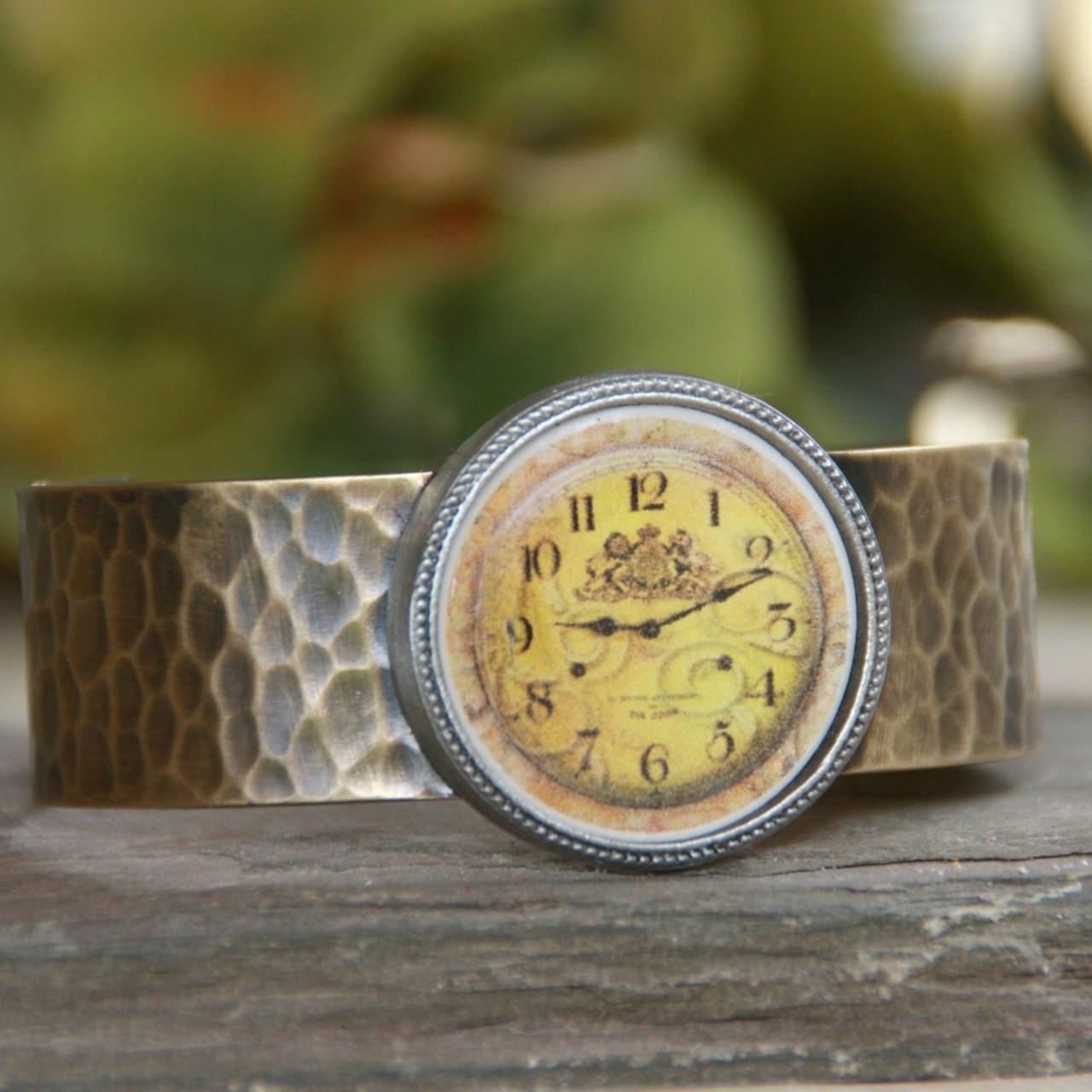 ART-120 Faux Watch Face Vintage Style Cuff Bracelet