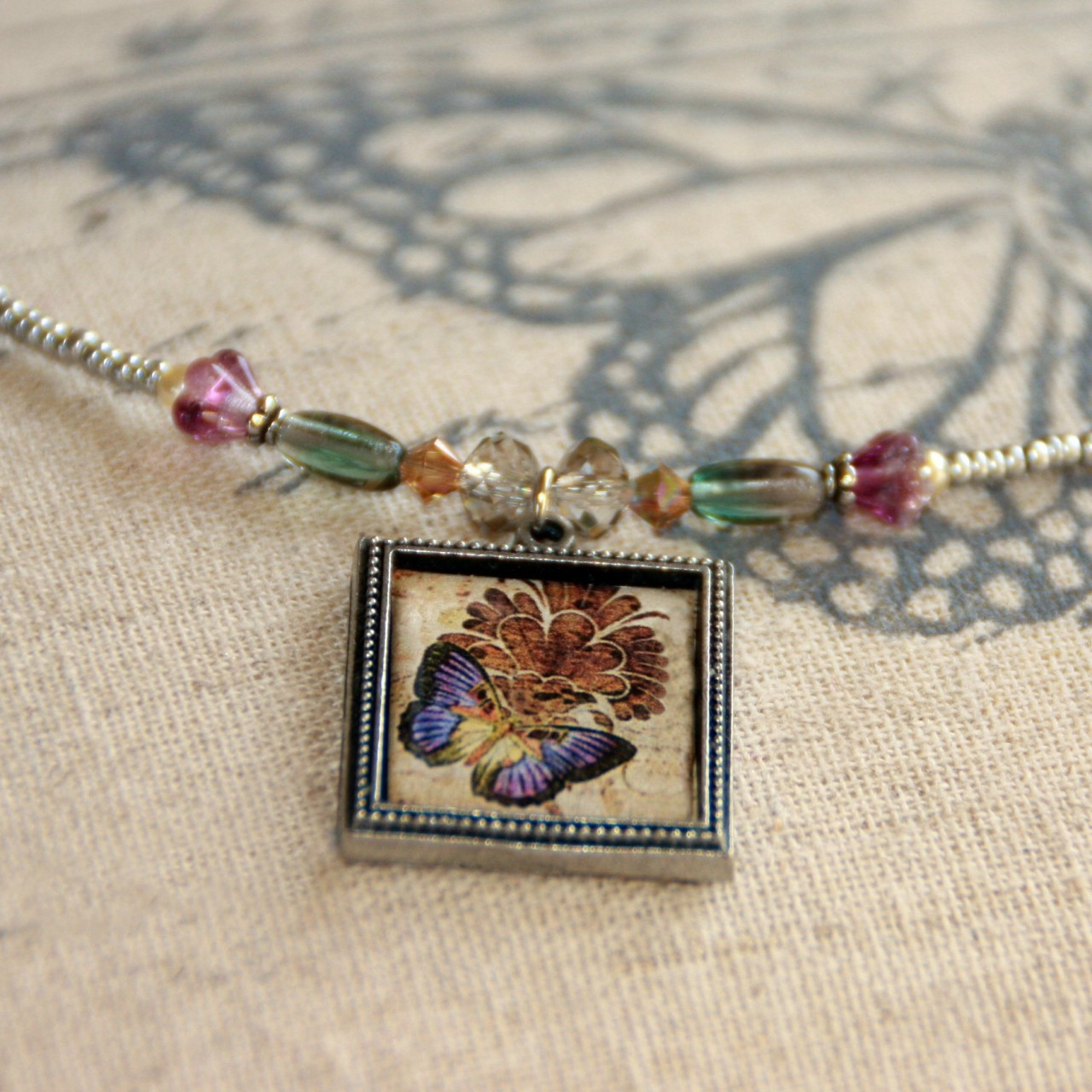 ART-215 Butterfly and Flowers Lavender ART Collection Necklace