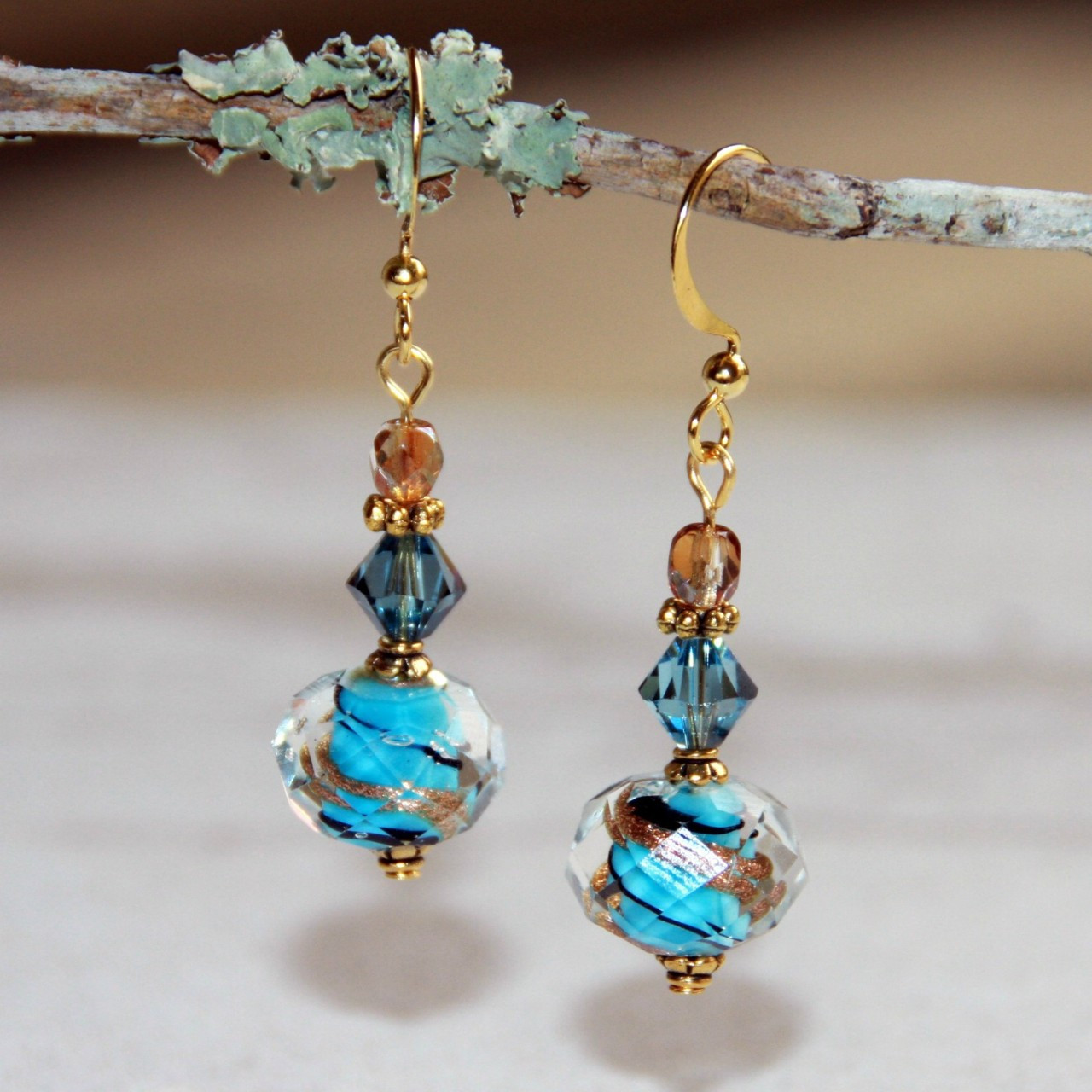 FER-252 Lampwork Crystal Beaded Earrings