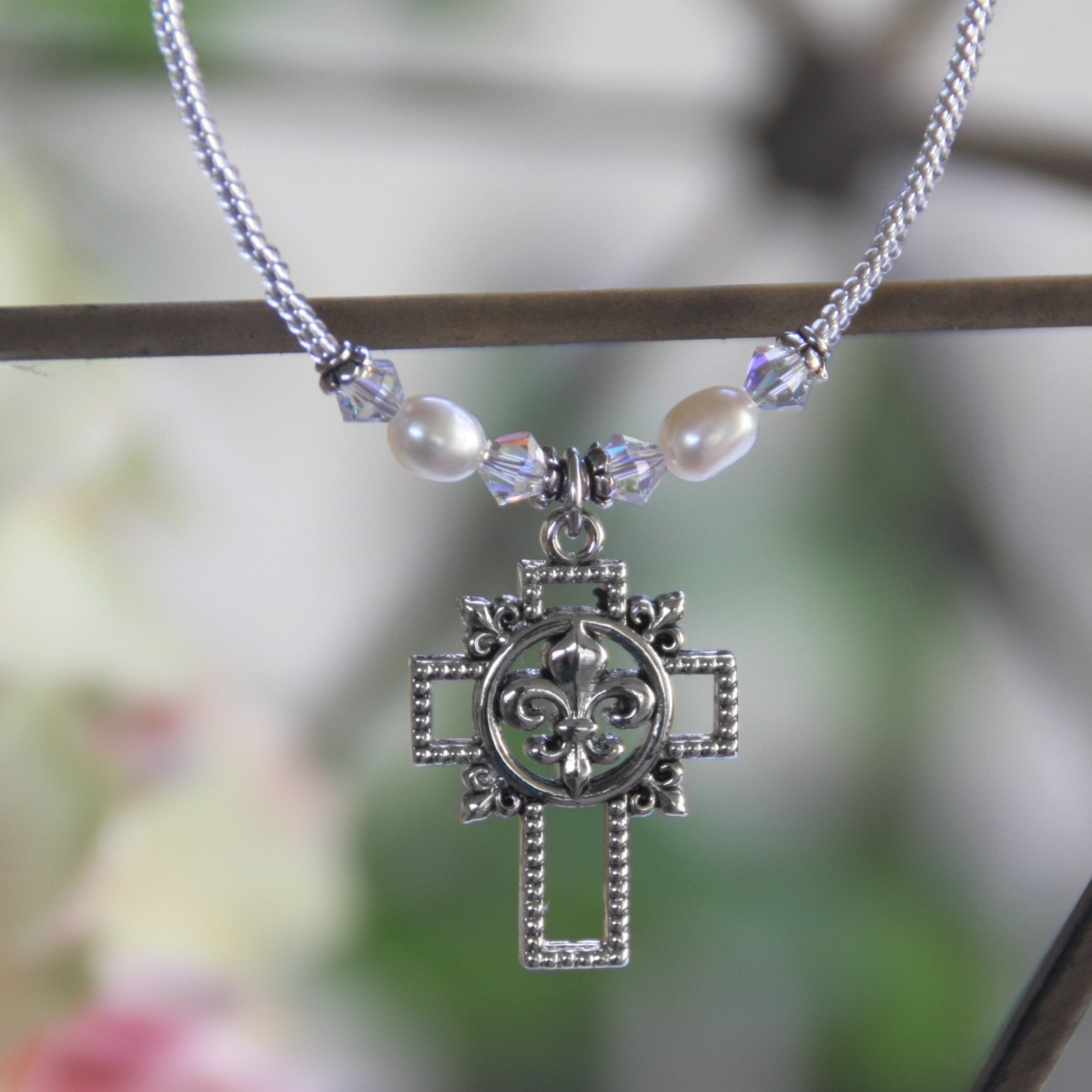 IN-630 Fleur De Lis Cross Necklace with accent Freshwater Pearls