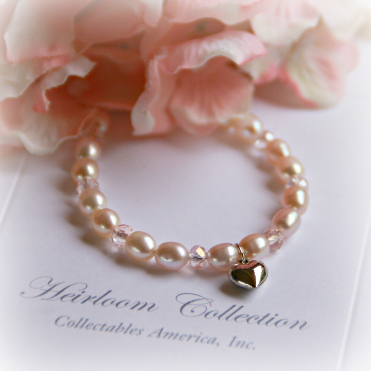 """CJ-312-HT Pale PInk Freshwater Pearl Bracelet with Heart Charm 5"""""""