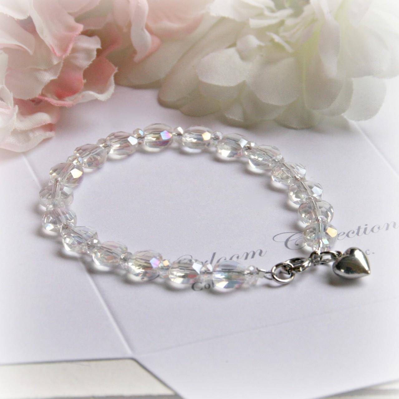 "CJ-340-6 6"" Crystal AB Child Bracelet with Puff Heart Charm"