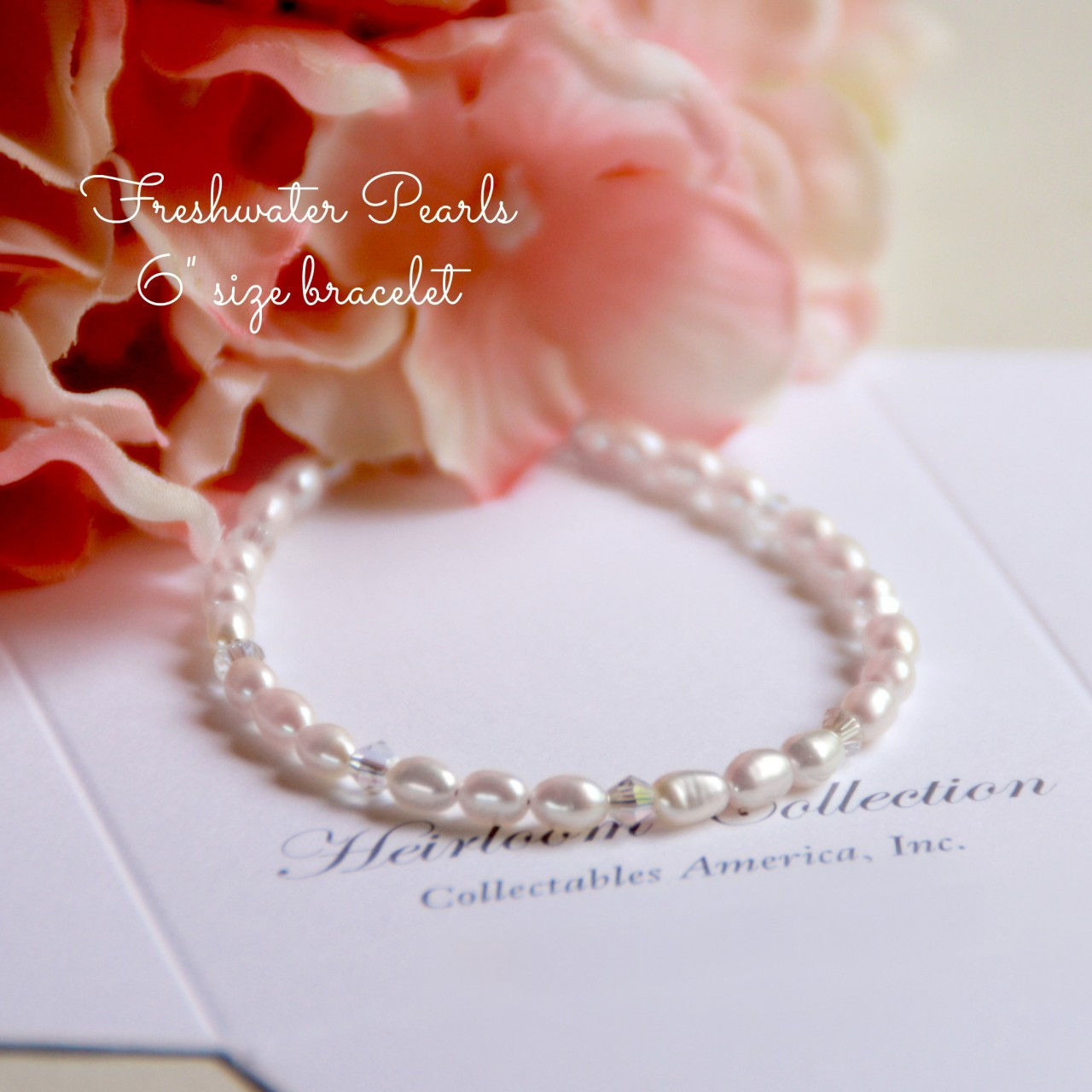"""CJ-346-6 Freshwater Pearl and Crystals Bracelet 6"""" size"""
