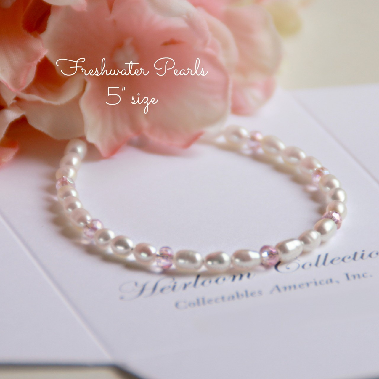"CJ-350-5 Soft Pink Crystals and Freshwater Pearls 5"" Bracelet"