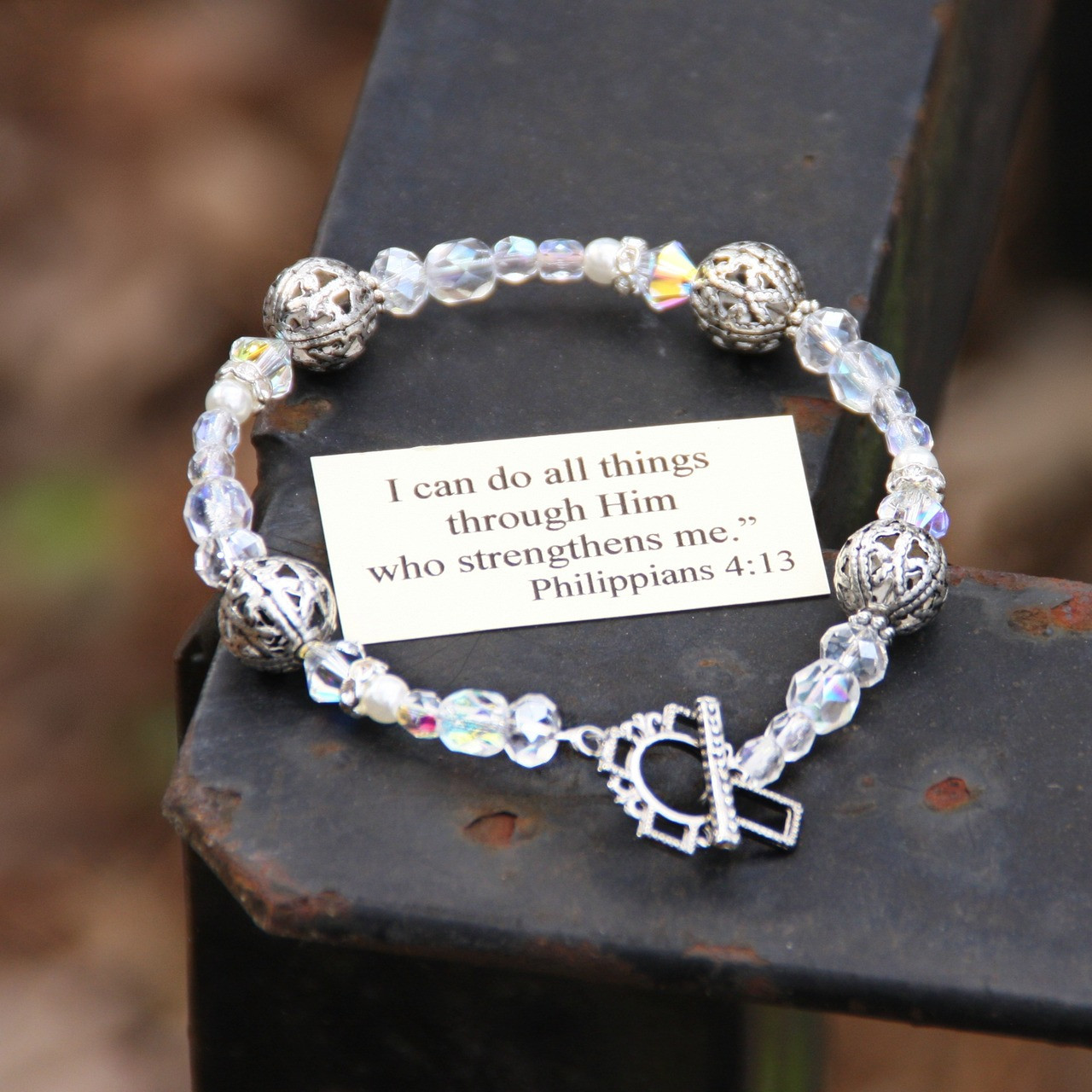IN-123 I can do all things...Crystal AB Bracelet