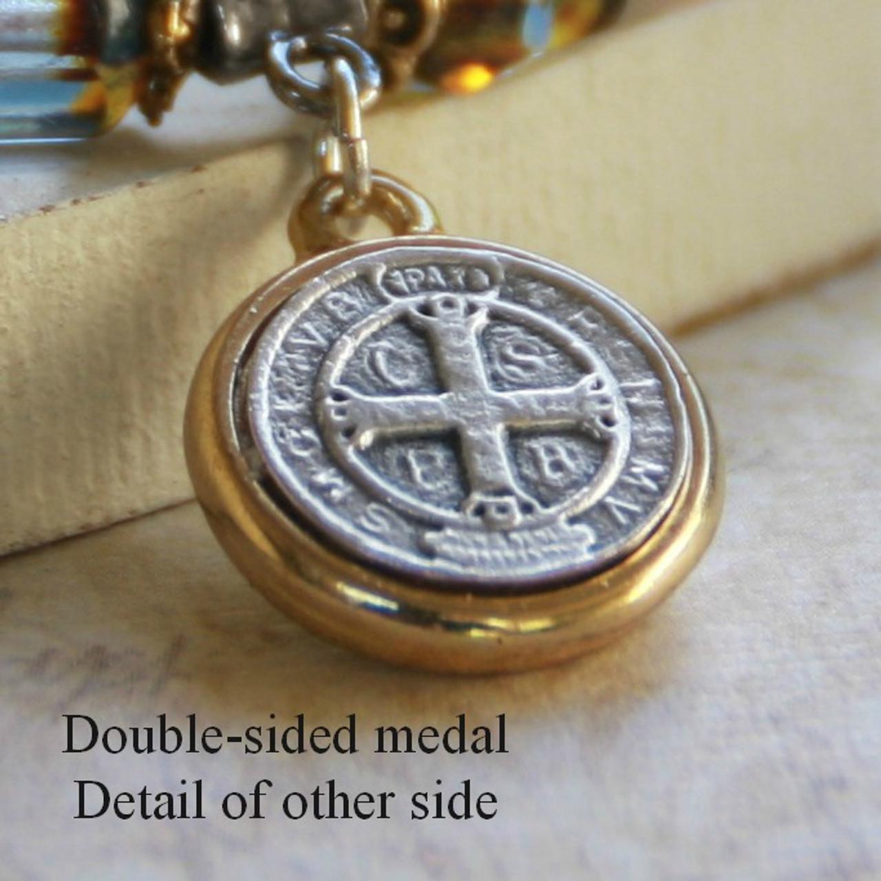IN-145  St. Benedict Platinum Crystal Bracelet
