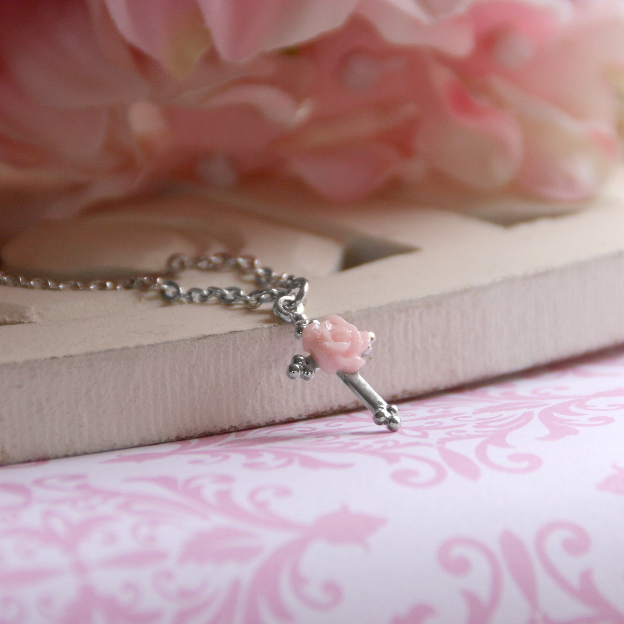 CJ-114  Sweet Rose Cross Necklace