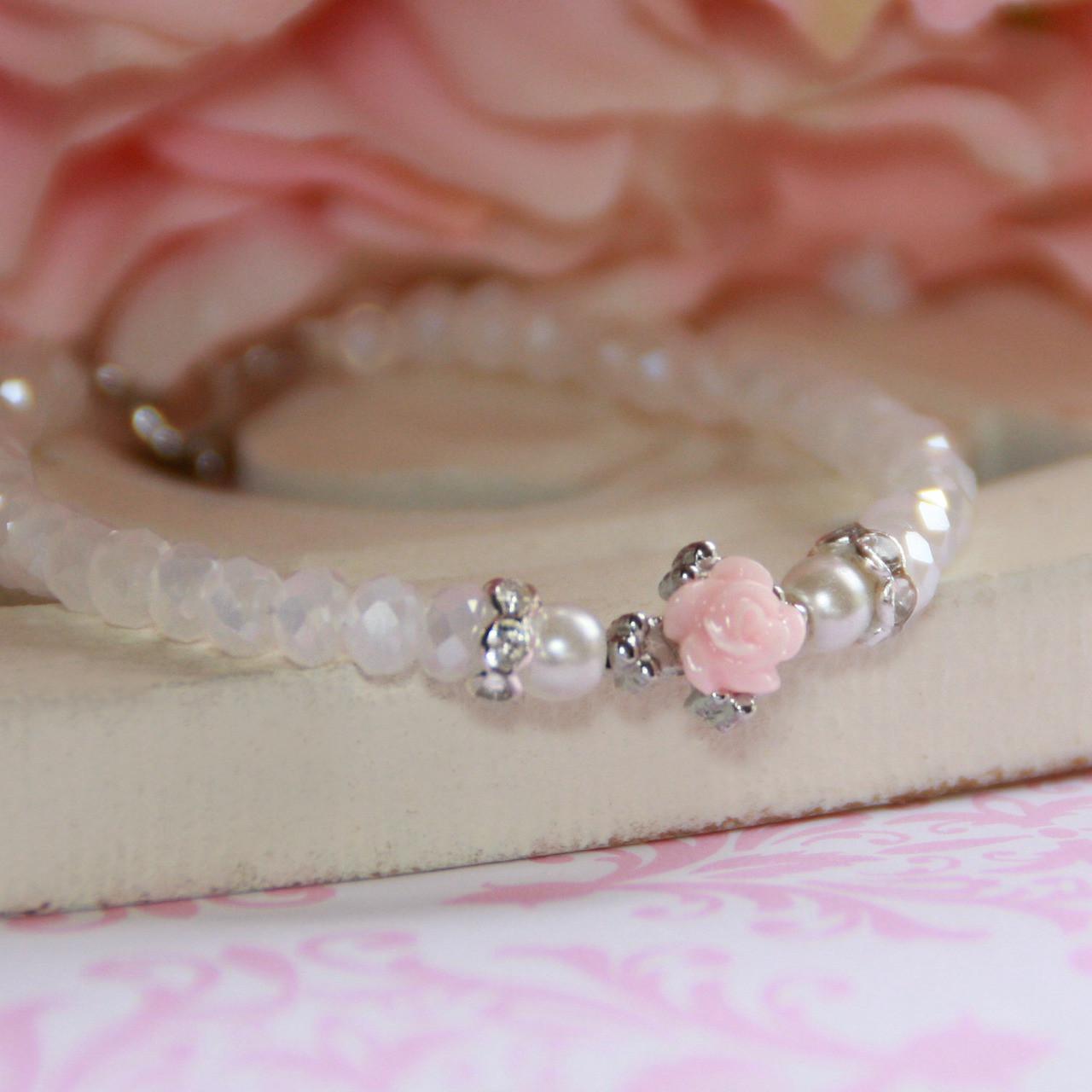 "CJ-116  Rose Cross Beautiful 5"" Bracelet"