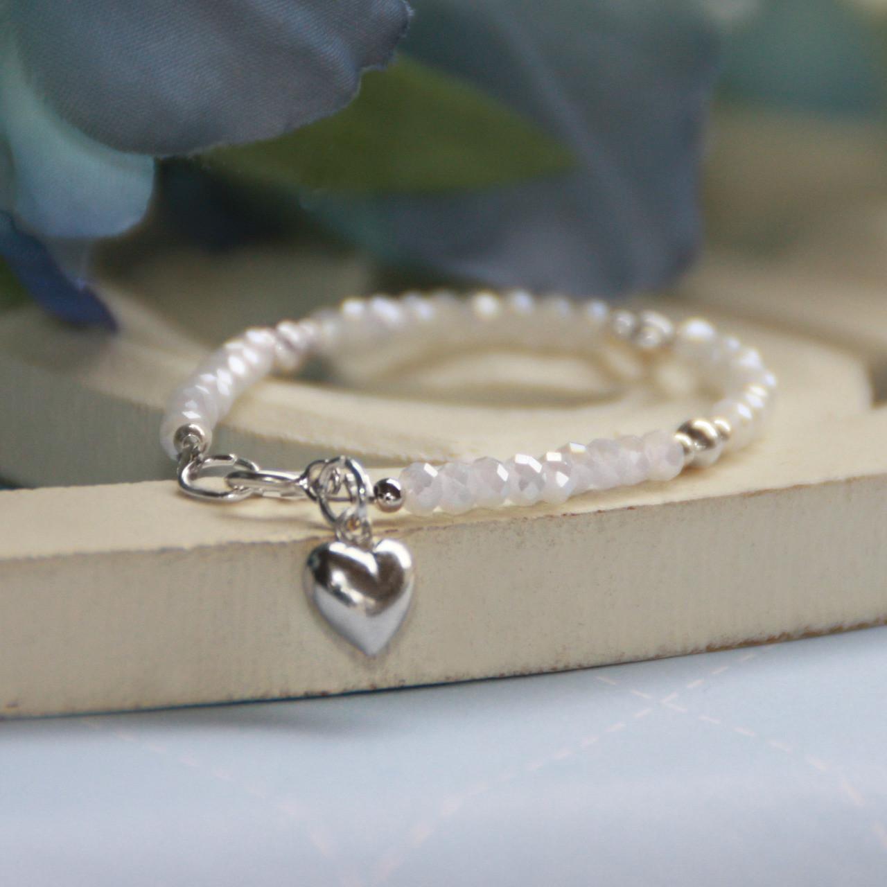"STG-19-5HT  Sterling Silver Heart and White Matte Crystals 5"" Bracelet"