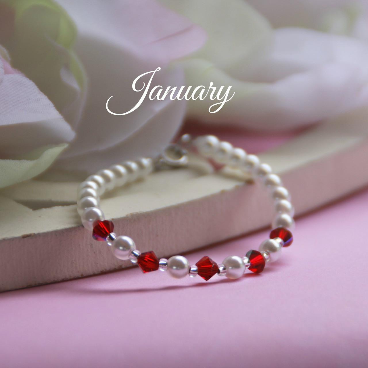 "CJ-129  January Birthstone Bracelet 5"""