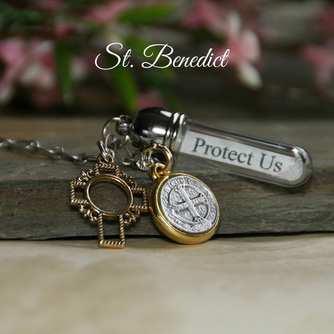 MM-DD  Two Tone St. Benedict Charm Message in a Bottle Necklace